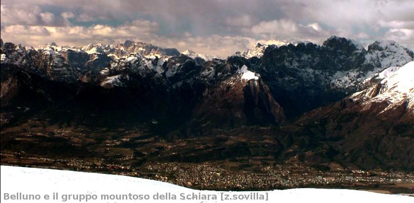 Belluno sullo sfondo del gruppo montuoso della Schiara